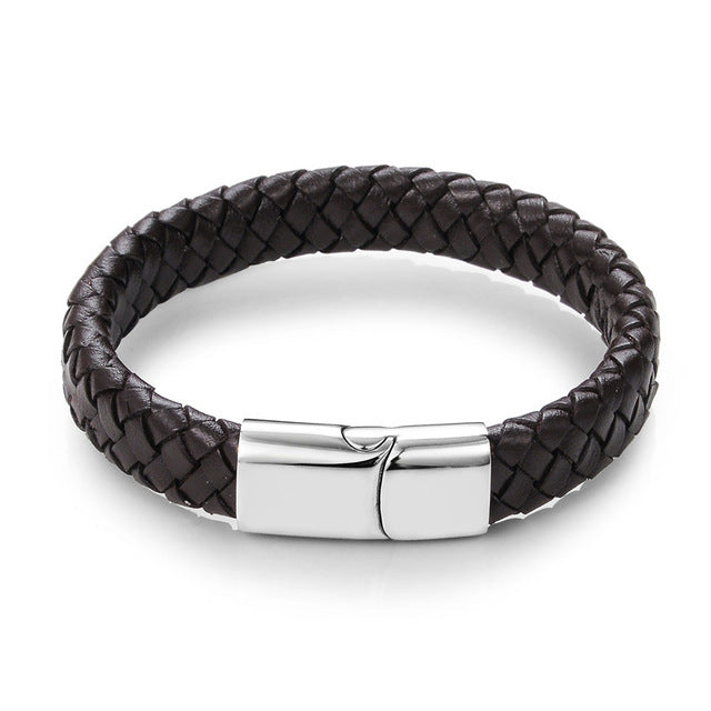 Black Braided Genuine Leather Bracelet  with Stainless Steel Magnetic Buckle - Martem Collection