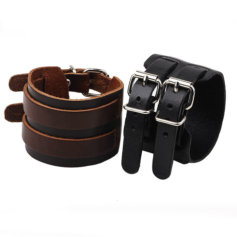 Unisex Wide Genuine Leather Double Buckle Wrap Bracelet - Martem Collection