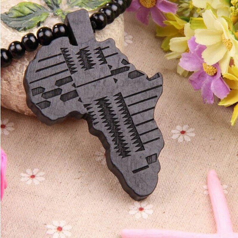 Wooden Map Africa Piece Pendant Rosary Bead Chain Necklace