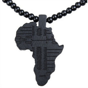 Wooden Map Africa Piece Pendant Rosary Bead Chain Necklace - Martem Collection