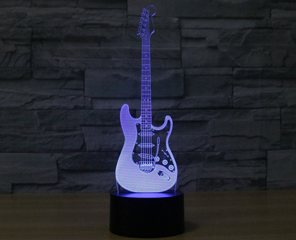 Holographic Virtuoso: Designer Electric Guitar LED 3D Illusion Lamp - Shred Maestro