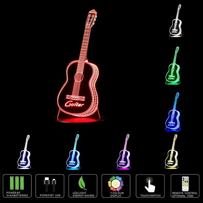 Holographic Virtuoso: Designer Acoustic Guitar LED 3D Illusion Lamp - Shred Maestro
