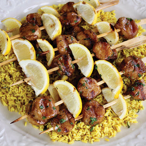 Grilled Scallop Kabobs & Lemon Rice