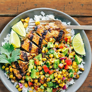 Mexican Chicken with Avocado Corn Salsa & Rice (6-8 servings)
