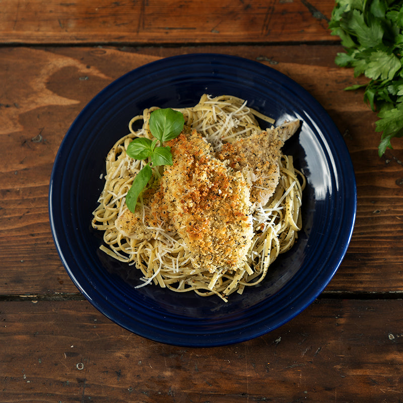 Oven Fried Flounder & Linguini Gremolata (4-6 servings)