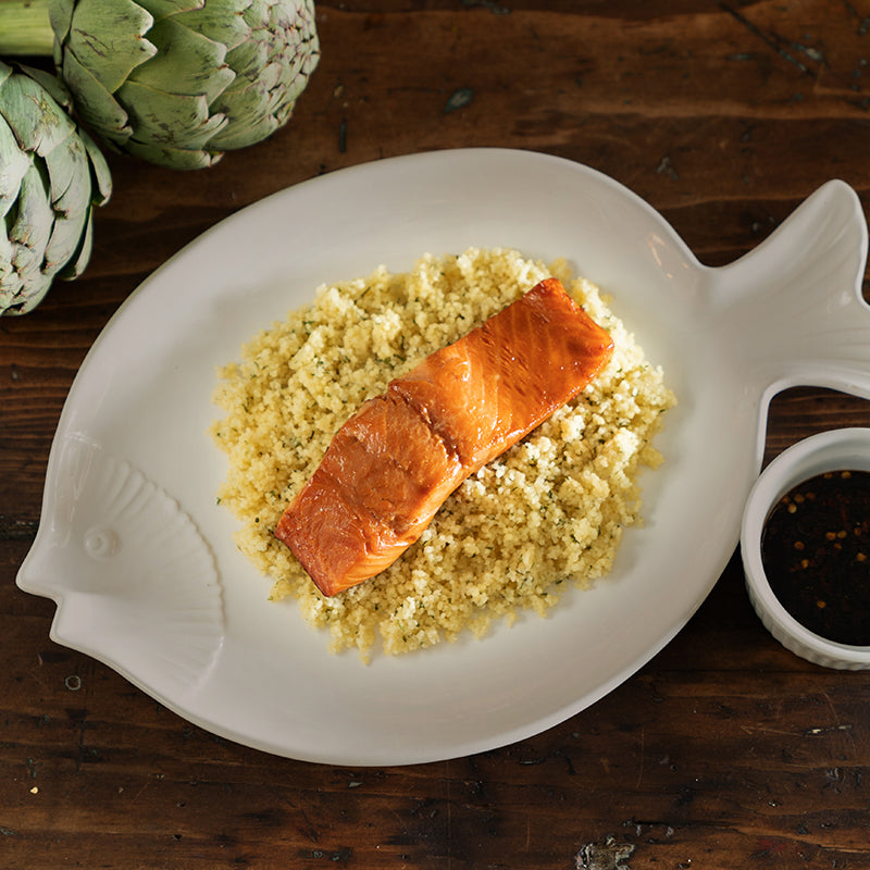 Teriyaki Glazed Salmon & Parmesan Couscous