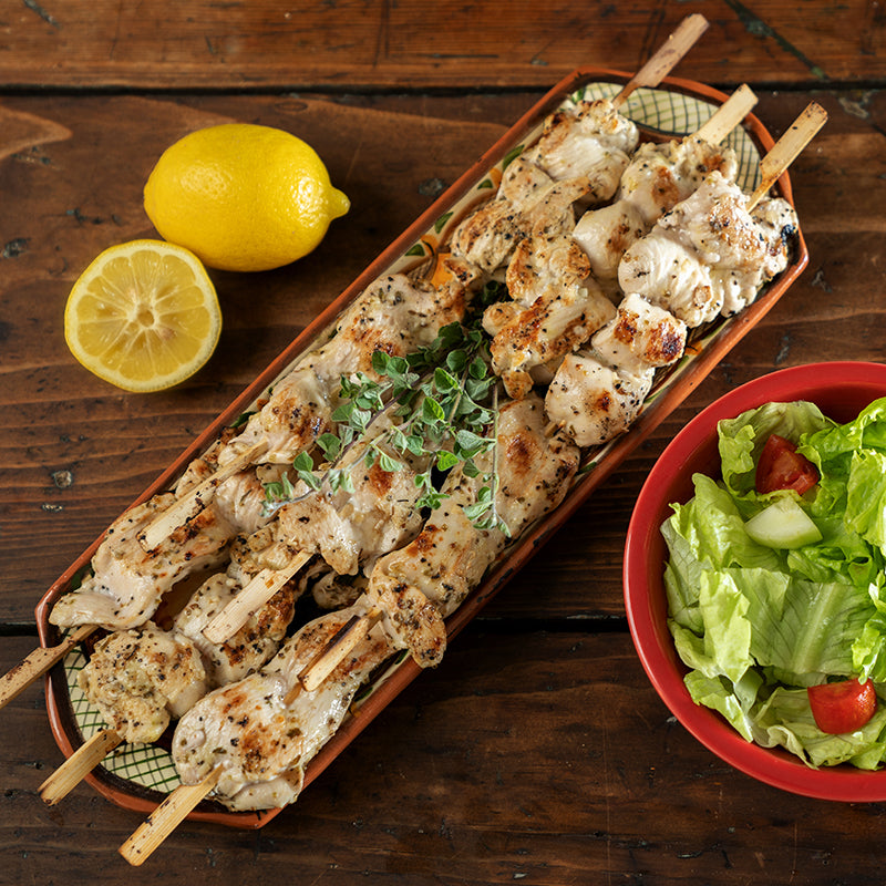 Tuscan Chicken Skewers & Leafy Greens