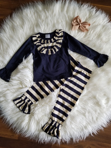 2 piece navy and taupe outfit