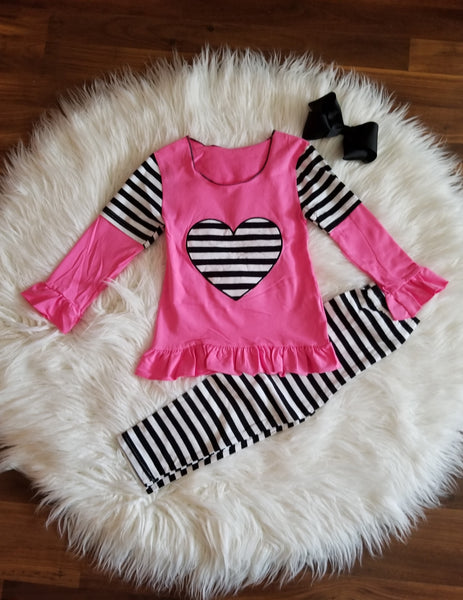 2 piece stripes and hearts