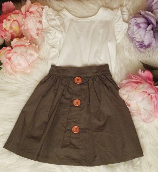 2 piece green high button skirt outfit