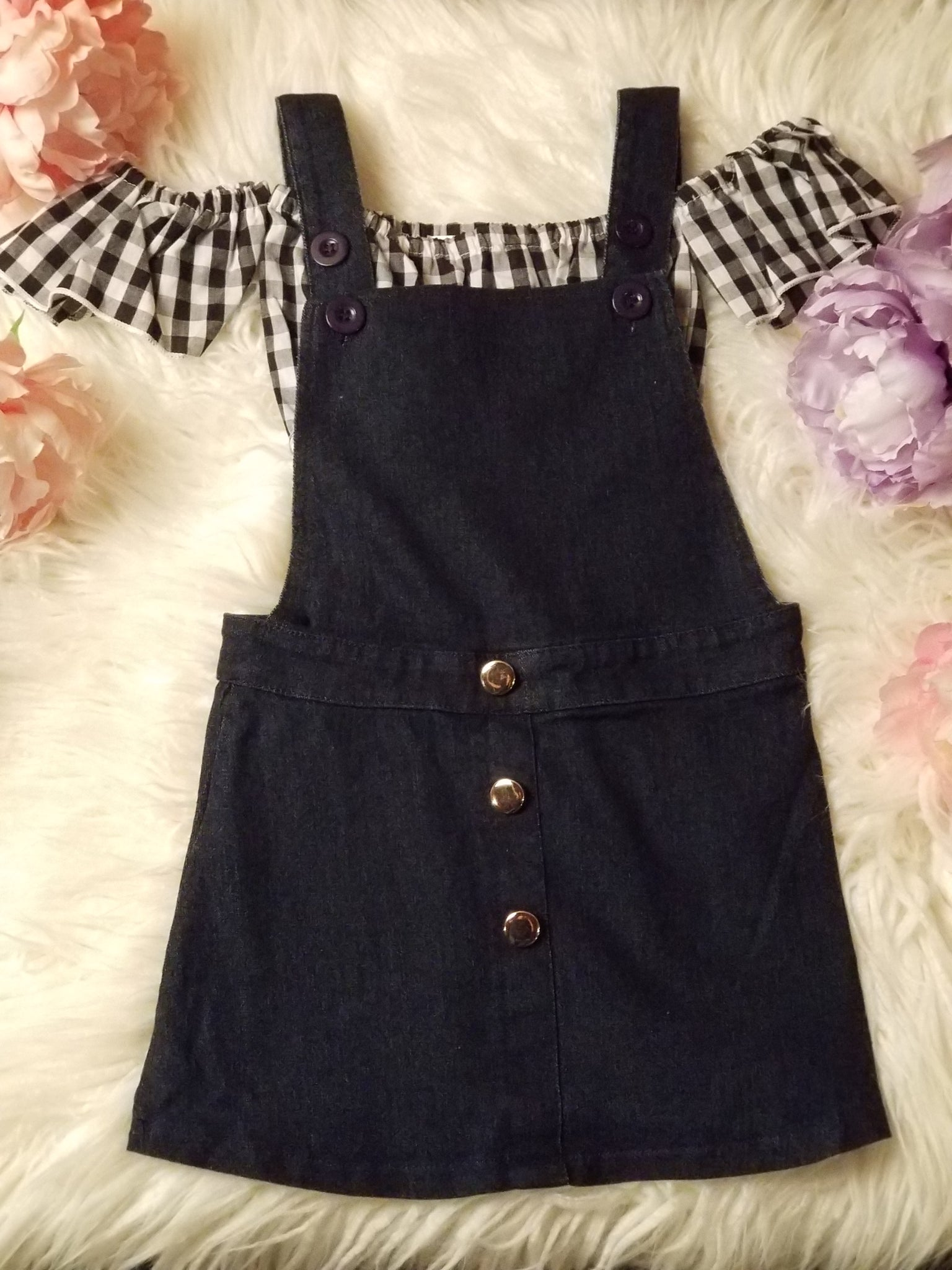 2 piece bluejean bib dress