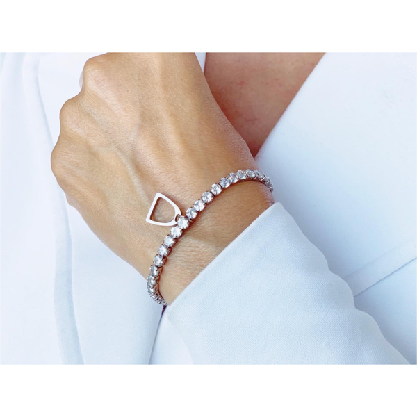 Crystal silver bracelet with Stirrup bangle