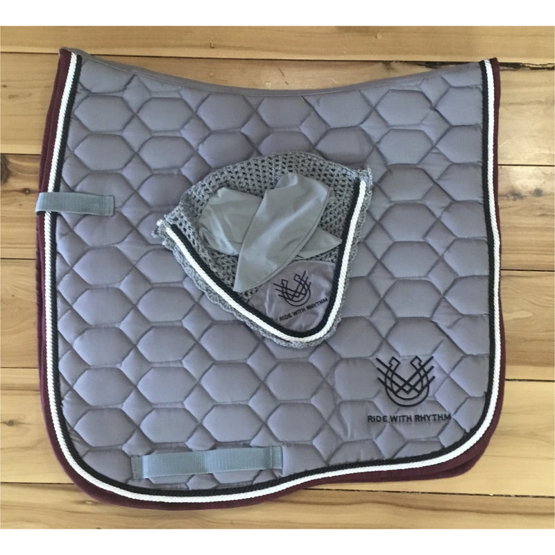 Saddle pad & Ear Bonnet set steal grey