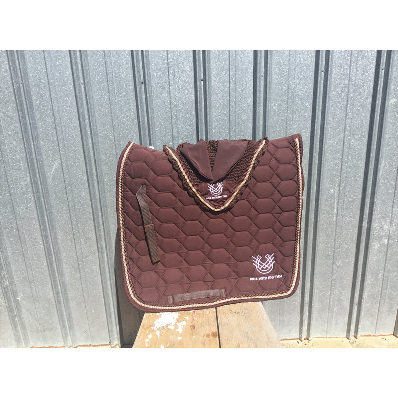Saddle Pad & Ear Bonnet set Chocolate brown
