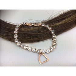 Rose gold crystal tennis bracelet with stirrup