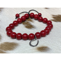 Red Jasper Bead Bracelet with Charm