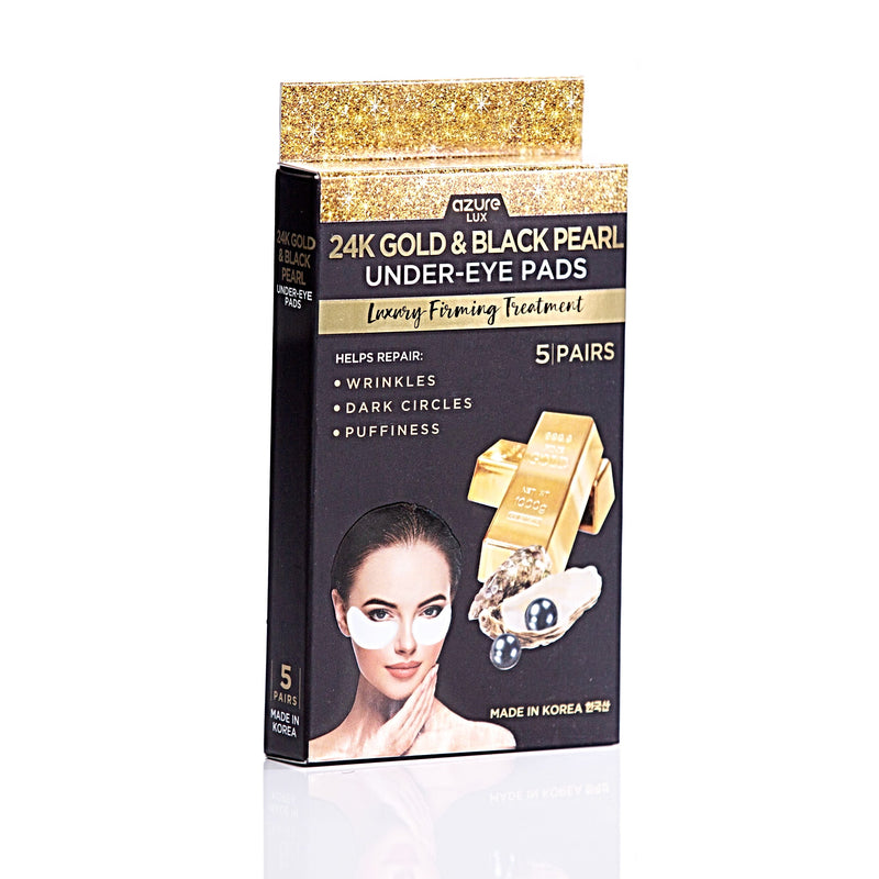 24K Gold and Black Pearl Luxury Firming Under Eye Pads: 5 Pairs