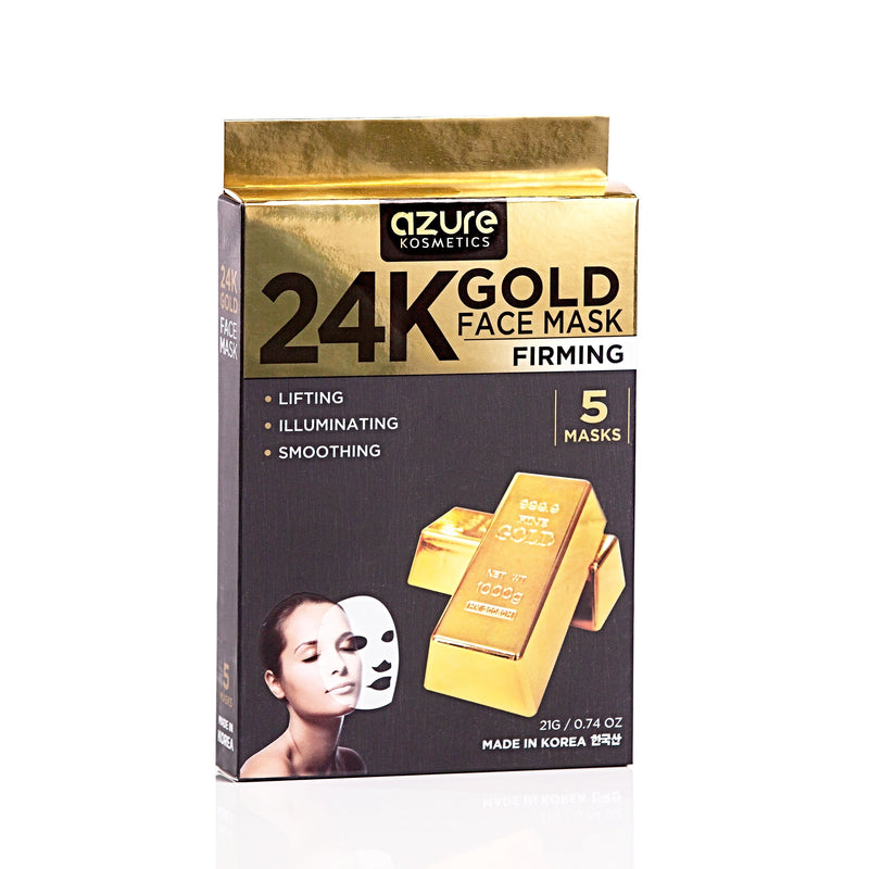 24K Gold Sheet Face Mask: 5 PACK