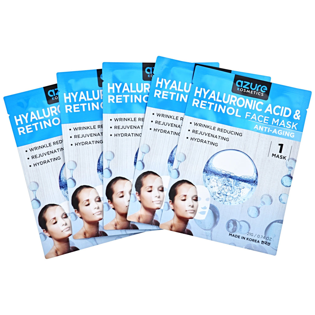 Hyaluronic Acid and Retinol Anti-Aging Face Mask: 5 PACK
