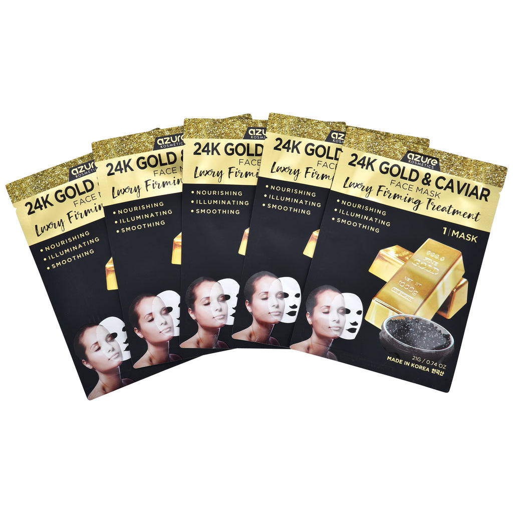 24K Gold & Caviar Luxury Face Mask: 5 Pack