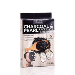 Charcoal and Pearl Korean Sheet Face Mask:  5 Pack