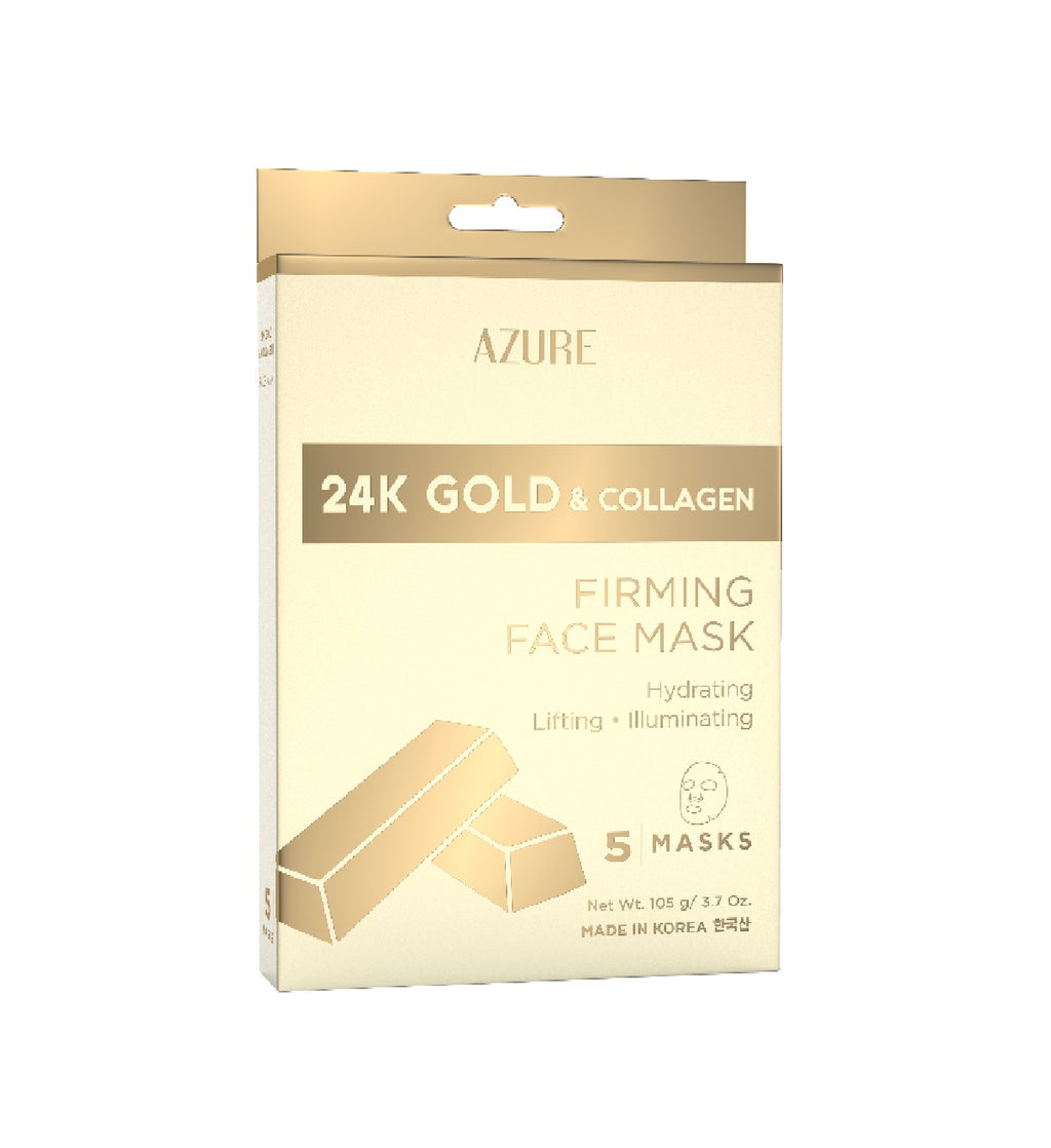 24K Gold and Collagen Firming Sheet Face Mask: 5 Pack