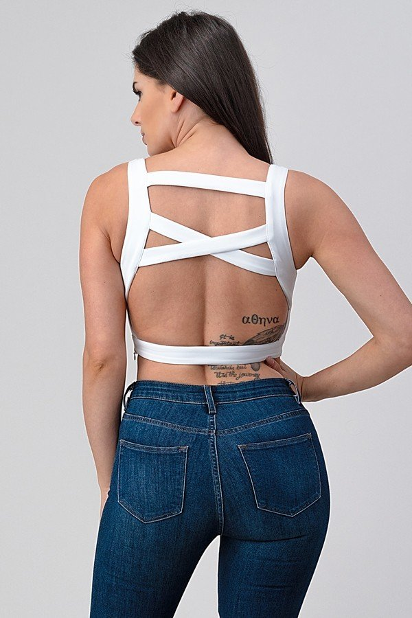Racer Back Crop White