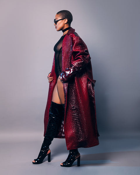 Naya Croc SnakeSkin Leather Trench Coat
