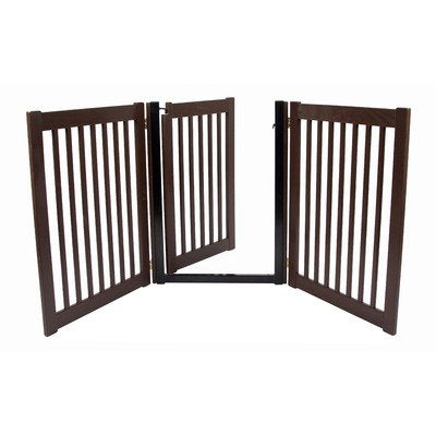 Dynamic Accents - Walk Through 3 Panel Free Standing Pet Gate - Mahogany