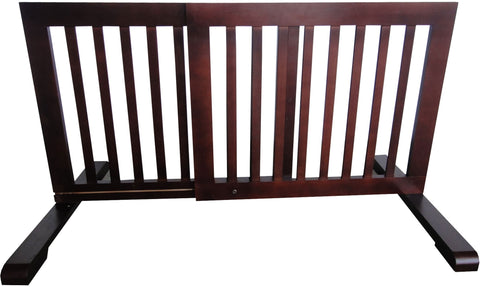 "MDOG2 Free Standing Step Over Gate - 39.8""-72"" - Dark Walnut - PetGateCentral.com"