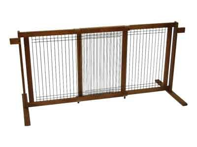 Crown Pet CPP-Gate Tall-W/W-L Wood Wire-Large Span Chestnut Brown Finish