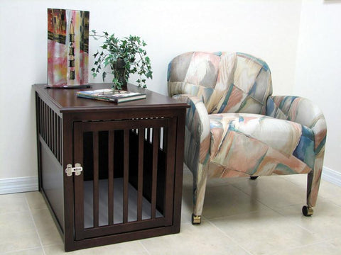 Crown Pet Products Crate Table, Medium size, with Espresso Finish - PetGateCentral.com