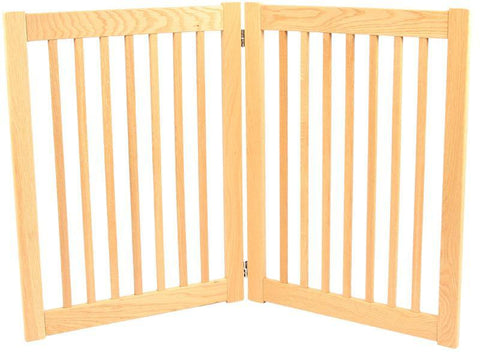 Dynamic Accents 2 Panel 32'' Outdoor Freestanding Pet Gate - White Oak (52122) - PetGateCentral.com