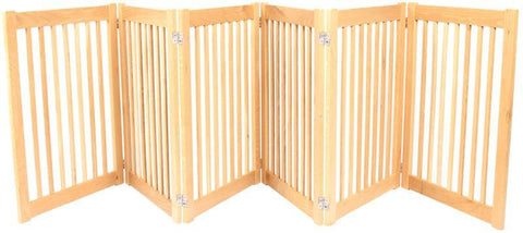 Dynamic Accents 6 Panel 32'' Outdoor Freestanding Pet Gate - White Oak (52124) - PetGateCentral.com