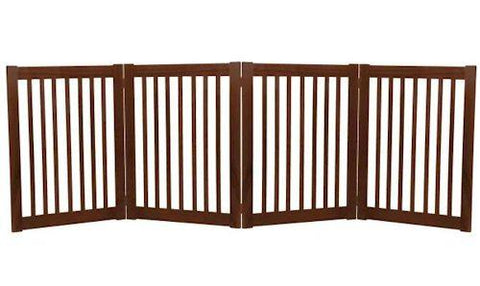 Dynamic Accents Large Four Panel EZ Pet Gate Mahogany - PetGateCentral.com