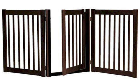 Dynamic Accents Three Panel Walk Thru Pet Gate Mahogany - PetGateCentral.com