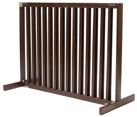 Dynamic Accents Large Tall Free Standing Pet Gate Mahogany - PetGateCentral.com