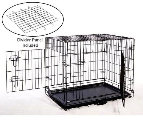 "MDOG2 CR0001M-BLK Folding Double-Door Metal Dog Crate with Divider Panel - 30"" x 21"" x 24"" - PetGateCentral.com"
