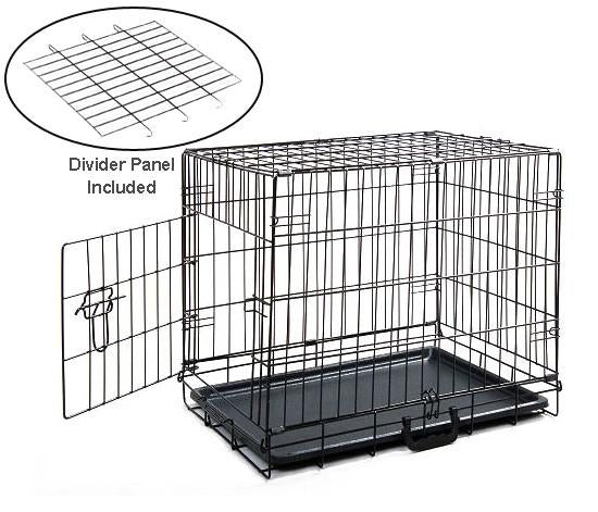 Mdog2 Cr0001s-blk Folding Metal Dog Crate With Divider Pa...