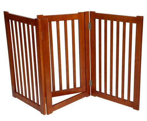 "MDOG2 MK806-600LO 3-Panel Free Standing Pet Gate 60""W x 32""H - Light Oak - PetGateCentral.com"