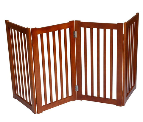"MDOG2 MK806-720LO 4-Panel Free Standing Pet Gate 72""W x 32""H - Light Oak - PetGateCentral.com"