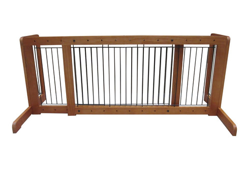 "MDOG2 Free Standing Step Over Gate - 39.8""-72"" - Light Oak - PetGateCentral.com"