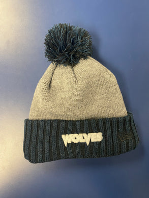 Gray/Navy beanie with puff