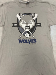 Short Sleeve - Baseball Wolf Head - Gray