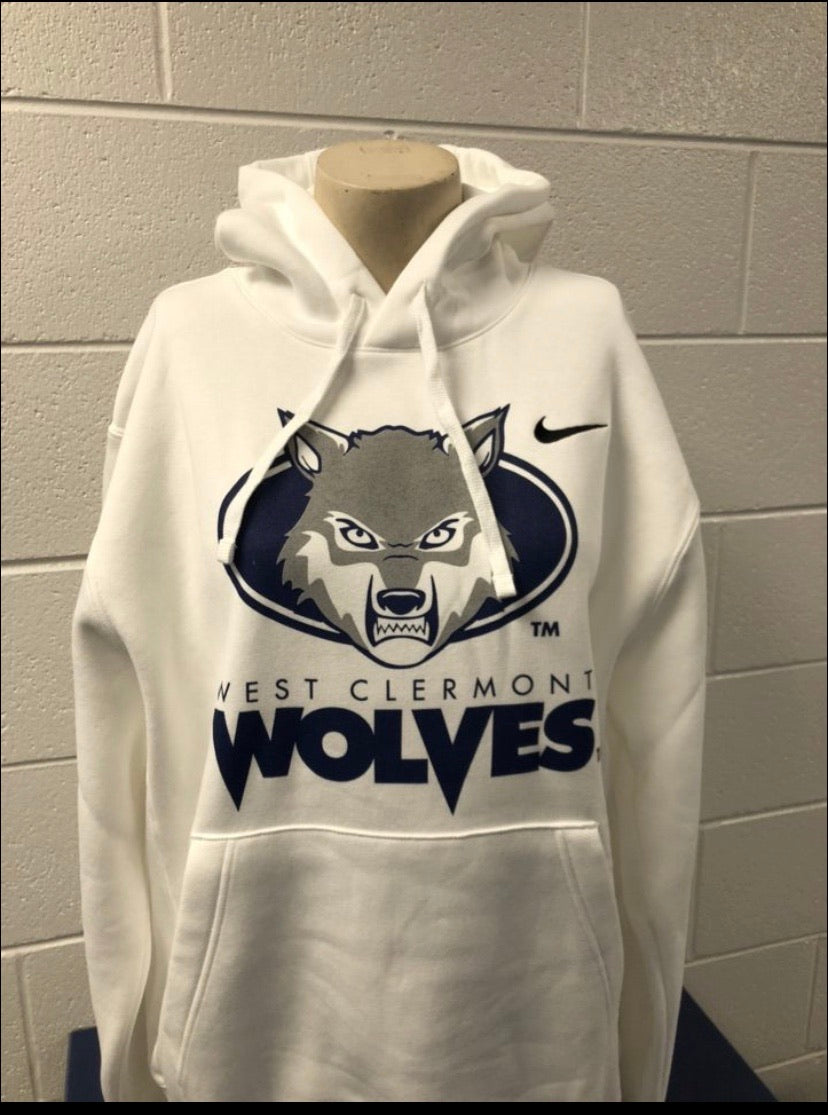 Hooded Sweatshirt - Nike Wolf Head - White