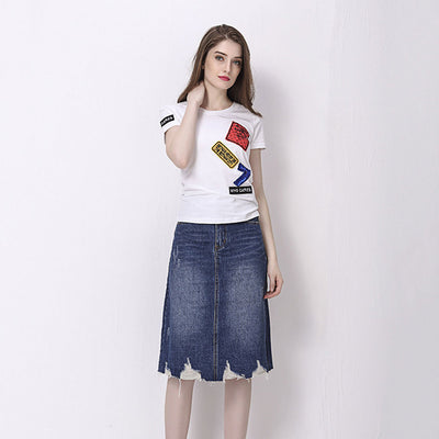 Falda Simple Denim de Tubo