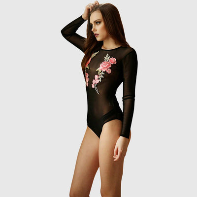 Body Transparente Bordado Floral