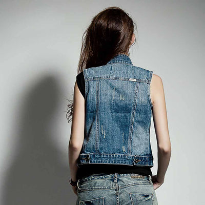 Chaqueta Denim Cuello Mao