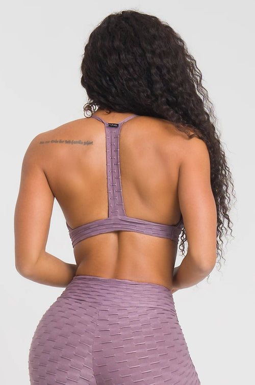Mauve Textured Strappy Bra