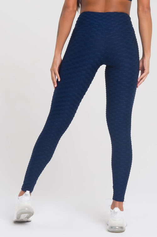 Navy Textured Leggings